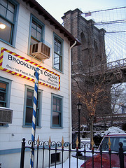 Winter Scene: Brooklyn Ice Cream Company With Brooklyn Bridge In Background