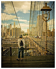 A Great View And Perspective Of The Brooklyn Bridge.