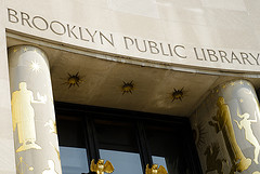 Golden Entrance To The Brooklyn Public Library.