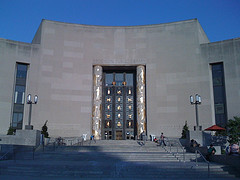 Main Entrance To The Central Branch Of The Brooklyn Public Library Against Deep Blue Sky
