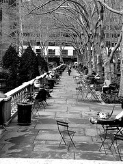 A Scattering Of People Use The Tables In Bryant Park In Wintertime