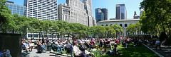 Spectators Gather In Bryant Park.