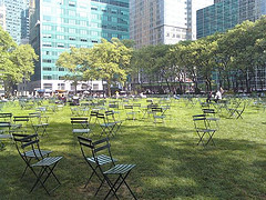 Empty Chairs On Bryant Park's Lawn