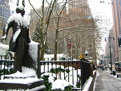Snow Covers A Statue At Bryant Park