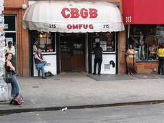 People Stand On The Streets Outside CBGB.