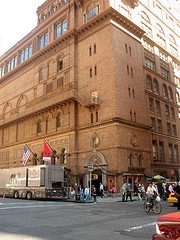 Pedestrians And Bicyclists In Front Of Carnegie Hall In Manhattan