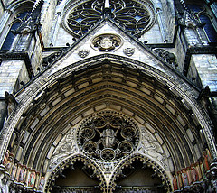 Ornamental Exterior Of The Cathedral Of Saint John The Divine In The Diocese Of New York.