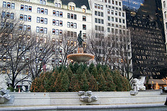 The Pulitzer Fountain In South Grand Army Plaza. Across The Street From Central Park South