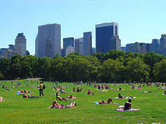 Sunbathers Flock To The Open Spaces Of Central Park South To Catch Some Rays