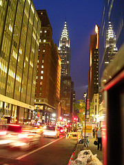 A Lovely View Of The Chrysler Building Al Lit Up At Night.
