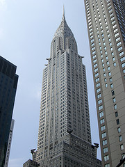 New York City's Chrysler Building Pointing Upwards To The Beautiful Blue Sky