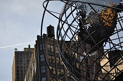 A View Of The Globe Outside Of Trump Towers In Columbus Circle