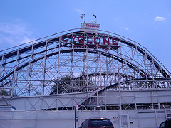 The Coney Island Cyclone, An Older Roller Coaster Made Of Wood In Brooklyn