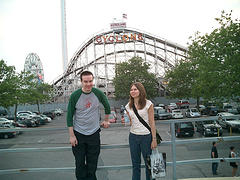 Thrill Seekers In Front Of The Historic Coney Island Cyclone.