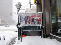 The Delancey Street Subway Station Entrance In The Midst Of A Blizzard.