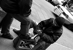 A Shoe Shiner In The Diamond District One Block South Of Rockefeller Center.