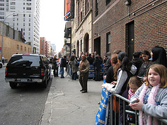 Biff Henderson And A Line Of Eager David Letterman Fans Outside The Ed Sullivan Theater