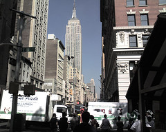 A Look Down The Busy Street To See The Empire State Building.