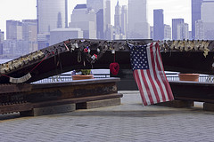 9-11 Tributes At Exchange Place, Jersey City, Overlooking The Manhattan Skyline