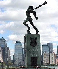 Statue Dedicated To The Victims Of The Katyn Massacre At Exchange Place In Jersey City
