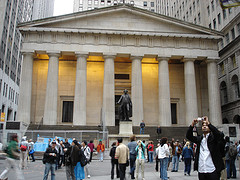 Tourists Outside Federal Hall, The United States Of America's First Capital.