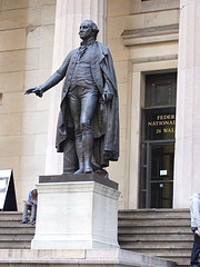 Statue Of George Washington In Front Of Federal Hall, Site Of His Inauguration
