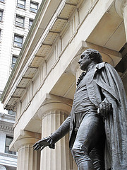 The Statue Of George Washington In Front Of The Federal Hall