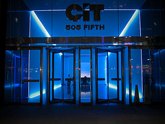 Glowing Blue Lobby Of Cit Group's Offices On Fifth Avenue In New York City