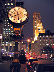 The Sherry Netherland Clock Shows The Time Of 5:40 Pm At The Fifth Avenue.