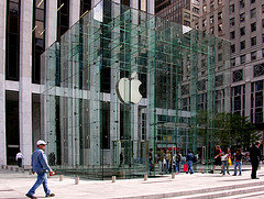 Fifth Avenue: The Gm Building And Its Apple Store's Logo Face The Plaza Hotel