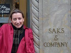 She Looks Cold Next To Saks & Company On Fifth Avenue.