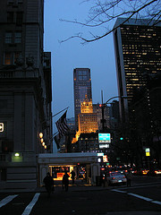 Fifth Avenue At Night In The Fall.