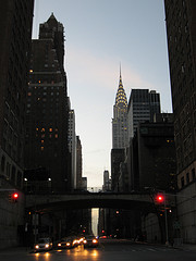 A Look Down Fifth Avenue As Night Falls.