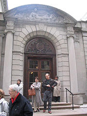 Tourists Walk Out Of the Frick Collection Mueseum