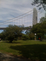A Beautiful Look At The George Washington Bridge Through The Park.