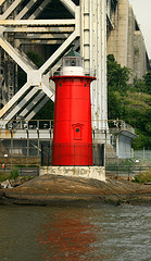 A Perfect Look At The Red Lighthouse Under The George Washington Bridge.