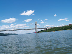 The George Washington Bridge , Connecting New Jersey An New York, On A Beautiful Summer Day