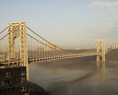 The Fog Burns Off This Morning At The George Washington Bridge.