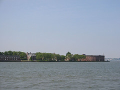 Distant View Of Governors Island In The Upper New York Bay.