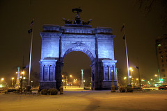 The Grand Army Plaza Stands On A Foggy And Cloudy Evening.