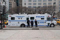 A Police Vehicle Parked In The Grand Army Plaza In Front Of The Plaza Hotel.