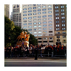 Spectators Gather In The Grand Army Plaza To Watch The Nyc Marathon