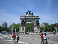 The Soldiers' And Sailors' Arch At Center Of Grand Army Plaza In Brooklyn