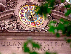 Outdoor Clock At Grand Central Terminal, Seen Through Leaves