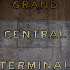 Old Brass Lettering On Grand Central Terminal Wall