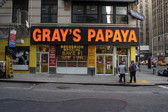 One Of Four Gray's Papaya Hot Dog Restaurant Locations In Manhattan's West Side.