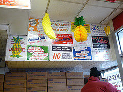 A Wall Of Little Signs Tells The Story Of Gray's Papaya