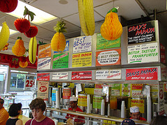 Interior View Of Gray's Papaya, Showing The Signs Above The Counter