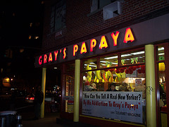 Night Time View Of One Of The Gray's Papaya Restaurants Open 24 Hours A Day Year Round.