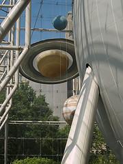 Giant Planets On Display In Front Of Hayden Planetarium.